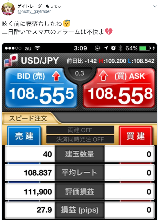 4月24日(火)~27日(金)ドル円+50.3pips(多分) ~ドル円に素直になれなかったわ~
