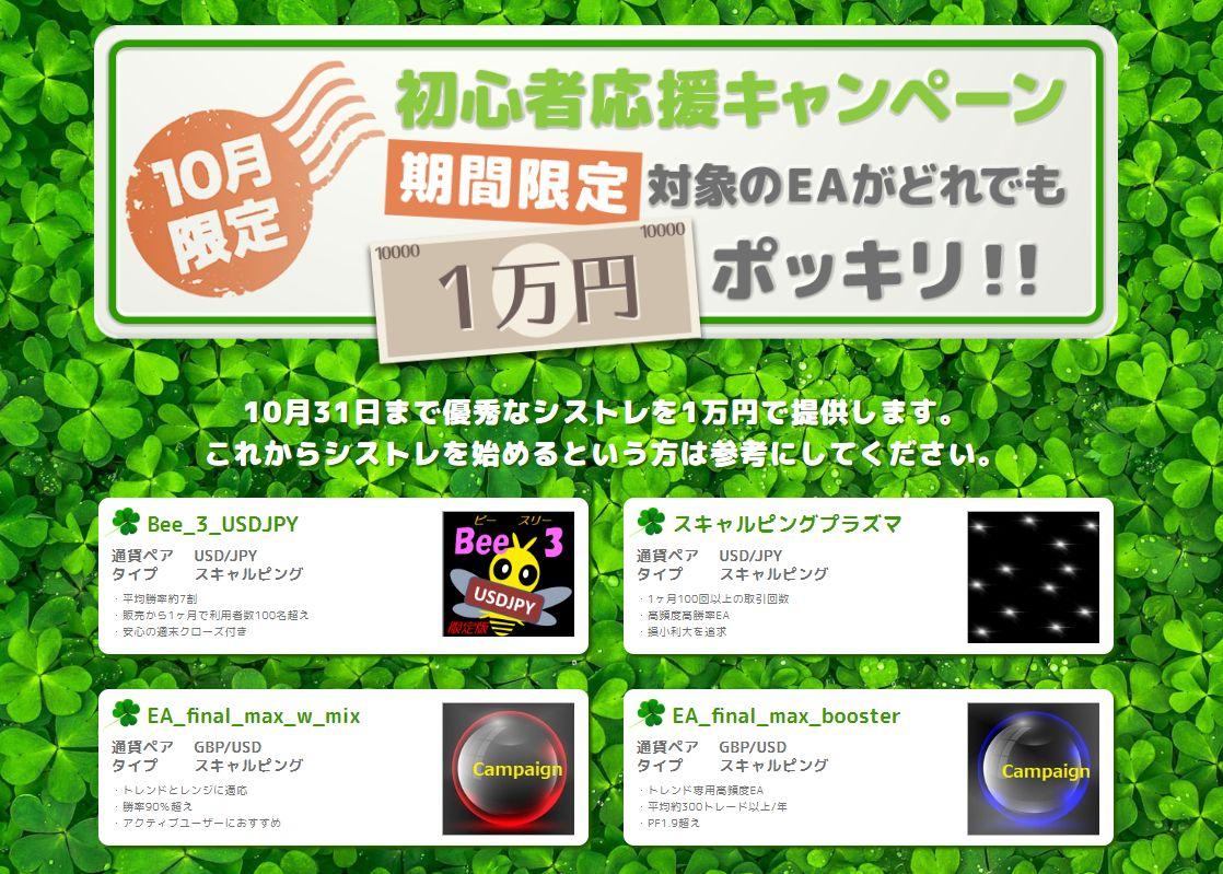 初心者応援キャンペーン★話題のEAを1万円でゲット!~期待年利と推奨証拠金を比べてみよう