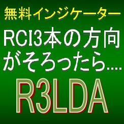 【無料インジケーター:RCIセンサー「R3LDA」】RCI3本ラインの方向がそろったら矢印を表示するインジケーター